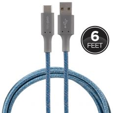Cordinate 6ft. USB-A to USB-C Braided Charging Cable, Blue/Gray