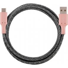 Cordinate 6ft. USB-A to USB-C Braided Charging Cable, Blush/Charcoal