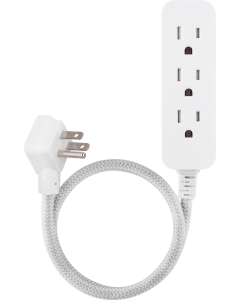 Cordinate 3-Outlet 2ft. Braided Extension Cord, White/Gray