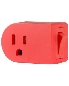 Cordinate Grounded 1-Outlet Power Switch, Coral