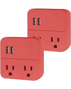 Cordinate 2-Outlet 2-USB Wall Tap with Surge Protection, 2 Pack, Coral