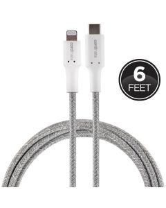 Cordinate 6ft. USB-C Lightning Charging Cable with Braided Cord, White/Gray