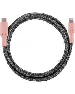 Cordinate 6ft. USB-C Lightning Charging Cable with Braided Cord, Blush/Charcoal