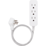 Cordinate 3-Outlet 2ft. Braided Extension Cord with Flat Plug, White/Gray